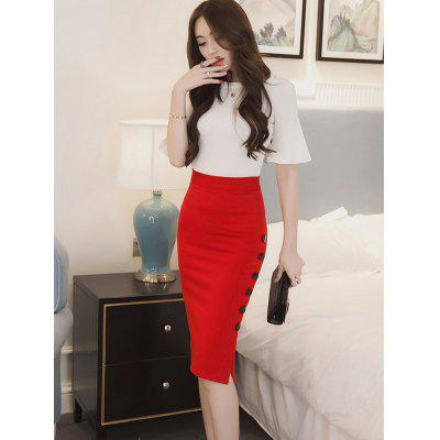 Simple Button Pencil Professional Skirt