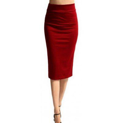 Fashion Solid Color Pencil Skirt