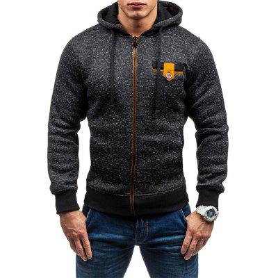 Men Stylish Warmth Round Collar Hoodie with Cap