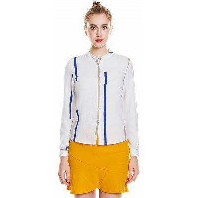 5850 - A618 Long Sleeve Color Matching Women Small Stand Collar Style Shirt