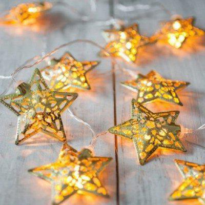 Batterij 10 Zilver Vijfpuntige Star String Christmas Wedding Arrangement Lantern