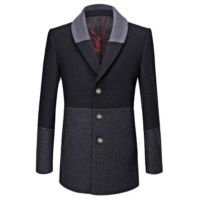 Autumn And Winter Casual Gentleman Wool Windbreaker Men Color Matching Coat Jacket