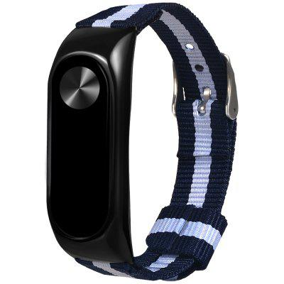 Two-color Blue White Striped Canvas Alloy Shell Replacement Strap for Xiaomi Mi Band 2