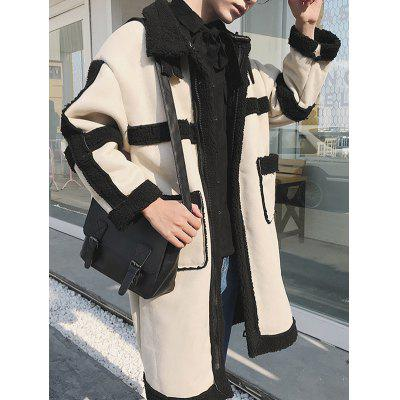 personality cashmere lamb hair warm large lapel men plus  woolen coat