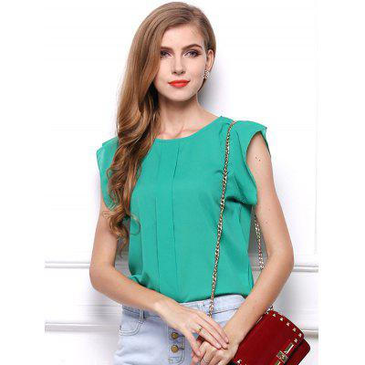 HQ0050 Solid Color Short-sleeved Shirt Flying Sleeves Chiffon Blouse