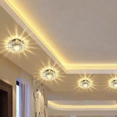 3W Warm Light Wall Mounted Modern Crystal Aisle Living Room Ceiling Downlight