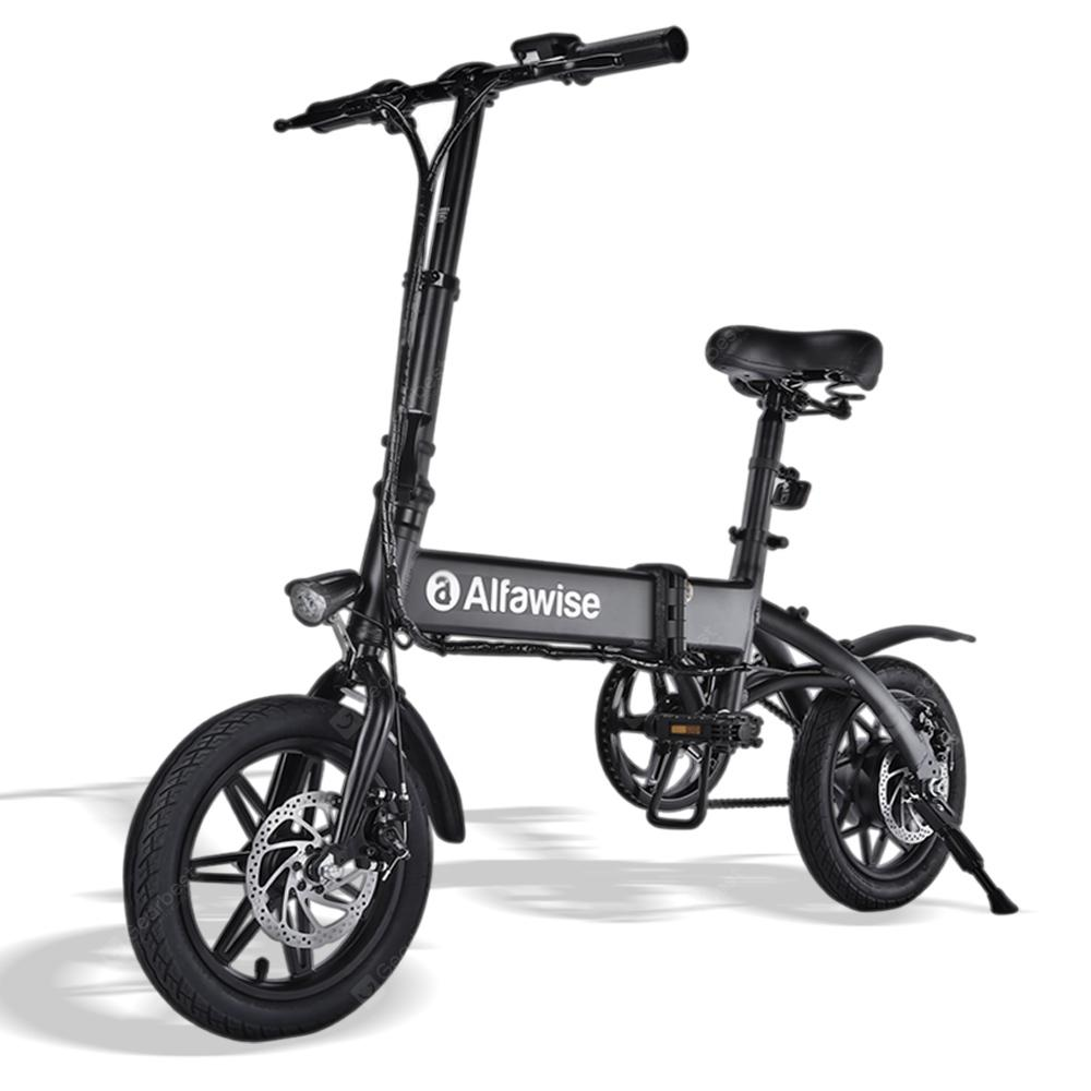 Alfawise X1 Folding E-bike Bicycle Electric Bike with 250W Motor 25km/h Speed - Black 10.4Ah Battery