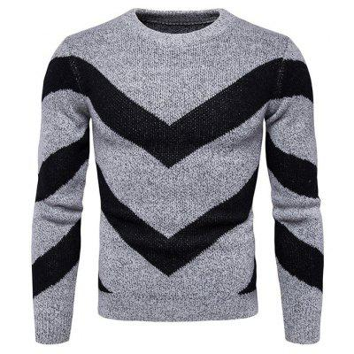 Men's Autumn Winter Color Matching  Fashion Round Neck Sweater
