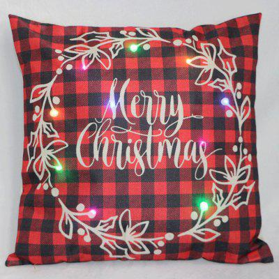 Christmas LED Printed Pillowcase Autumn Winter Velvet Cushion Cover Home Soft Decoration