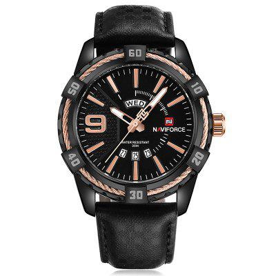 Naviforce 9117 heren waterdichte sport lederen band horloge