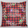Christmas LED Printed Pillowcase Autumn Winter Velvet Cushion Cover Home Soft Decoration - RED WINE