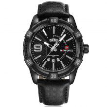 Naviforce 9117 Men Waterproof Sports Leather Band Watch