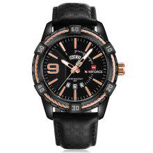 Naviforce 9117 Men Waterproof Sports Watch Banda de couro