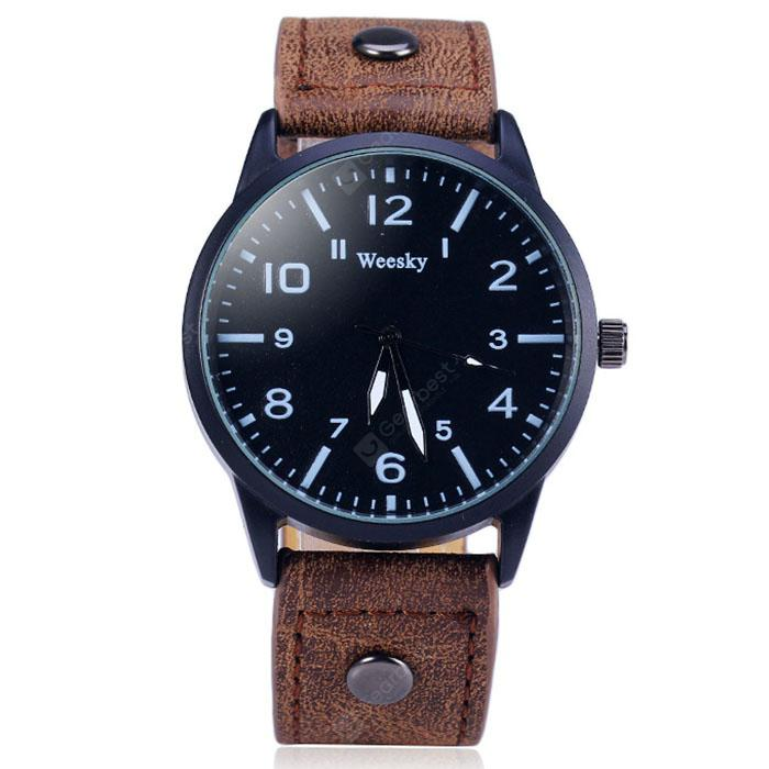 Weesky 1203G Male Quartz Watch with Leather Band - Brown