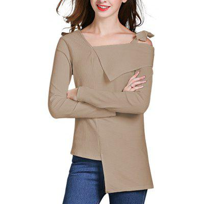 HQ0084 Women Solid Bowknot Long Sleeve Sweater