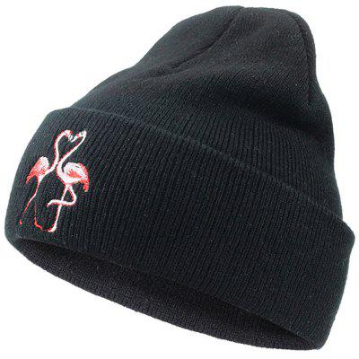 Headgear Embroidery Flamingo Knit Warm Wool Cap
