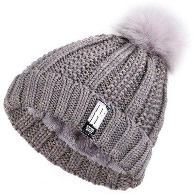 Winter Outdoor Plus Thick Letter B Wool Ladies Warm Earmuffs Ball Knit Hat