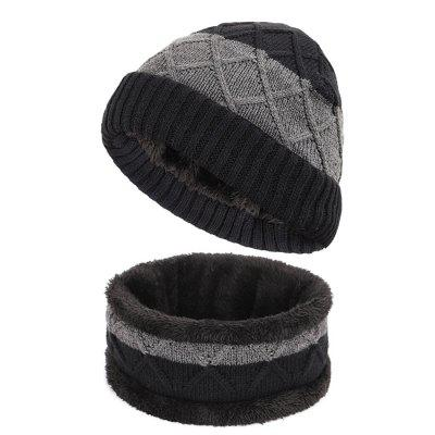 Men's Knitted Wool Plaid Warm Hooded Hat Scarf Set