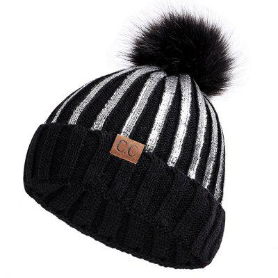 Ladies Hair Ball Warm Knit Hat