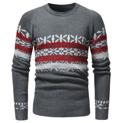 Christmas Casual Slim Round Neck Knit Men's Sweater for Autumn and Winter
