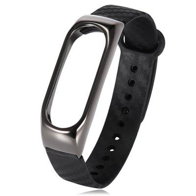 TAMISTER Alloy Shell Metal TPE Rubber Wrist Strap for Xiaomi Mi Band 2