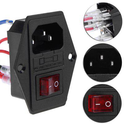 15A 250V Power Switch AC 3pin Socket Red Triple Rocker Tripod Voeten van koper met zekering voor 3d-printer