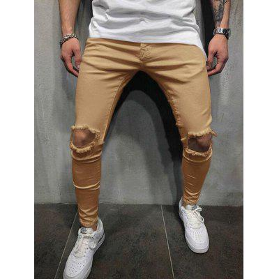 Hole Hollow Color Middle Waist Casual Pants