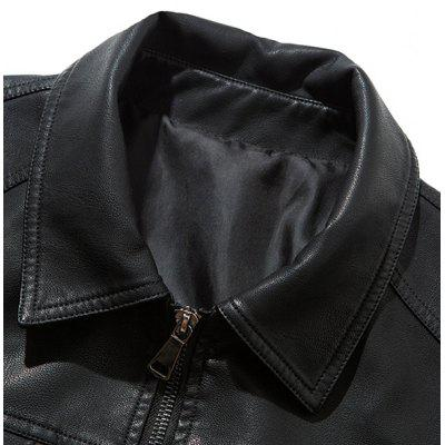 Men's Autumn Winter Lapel Slim Plus Cotton Leather Coat