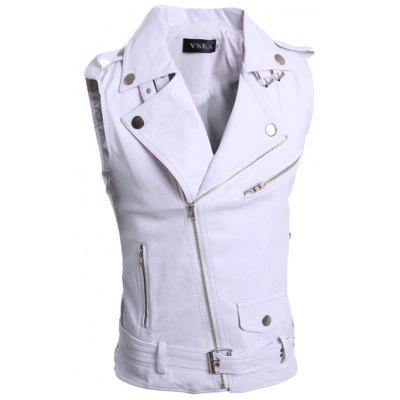 5641 Multi-coloured Zipper for Men Slim Large Lapel Short Leather Vest