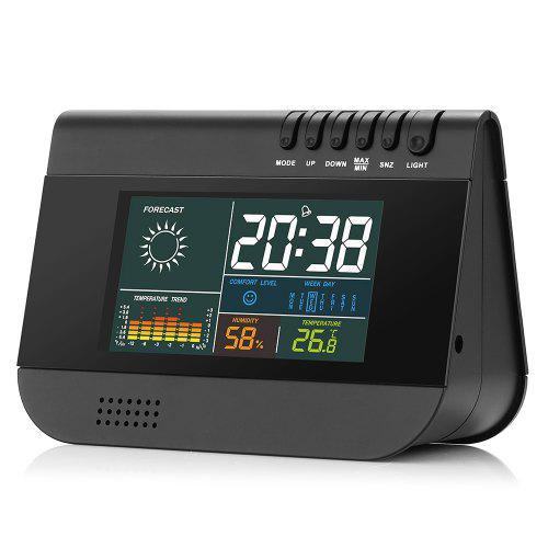 Gearbest Gocomma GO - A1 Wireless Temp Humidity Weather Forecast Alarm Clock - BLACK with Hygrometer / Thermometer Colorful Backlit / USB Charging