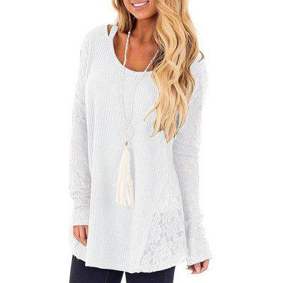 European American Lace Stitching Long-sleeved Round Neck T-shirt