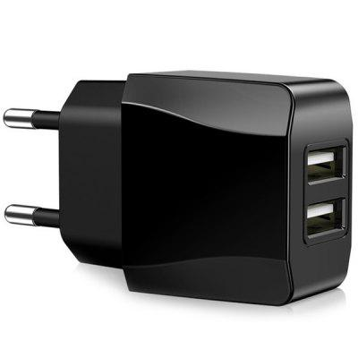 GS - 518 5V 2.1A Intelligent Digital Charging Head Dual USB European Standard Power Adapter