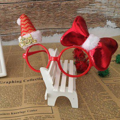 Christmas Hat Decoration Props Plush Bow Glasses Frame