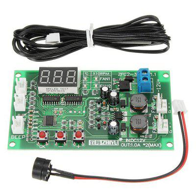 DC 12V 2 Way 3 Wire Fan Smart Controller with Temperature Speed ​​Digital Display Stop - Rotating Alarm Function Board