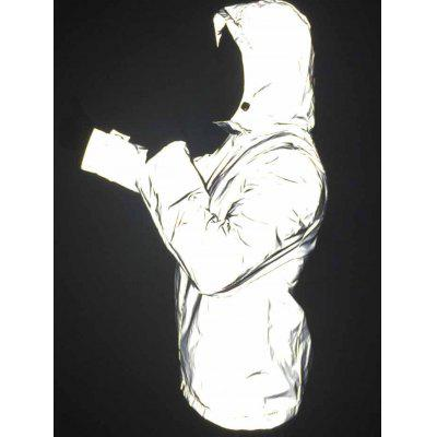 Men Outdoor Sports Reflective Large Size Hooded Hip Hop Trench