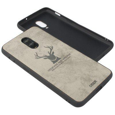 High Quality PU Fabric Embossed Deer Head Pattern Anti-fall Phone Case for One Plus 6T
