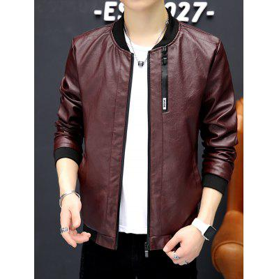 6113 - A446 Young Handsome PU Leather Jacket Abbigliamento coreano Slim Locomotiva per uomo