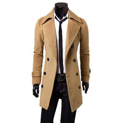 Men Turn-down Collar Long Wind Coat