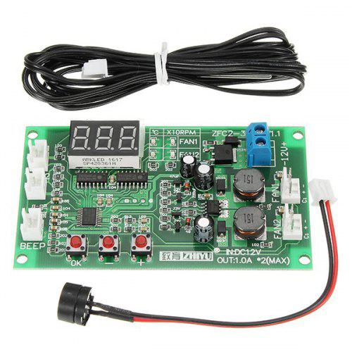 DC 12V 2 Way 3 Wire Fan Smart Controller with Temperature Speed Digital  Display Stop - Rotating Alarm Function Board
