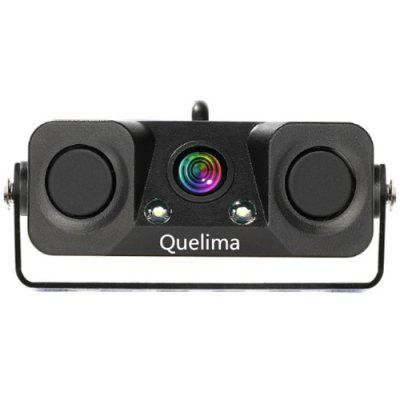 Quelima 6998 Two-in-one Car Radar Alarm Camera with Ruler Line