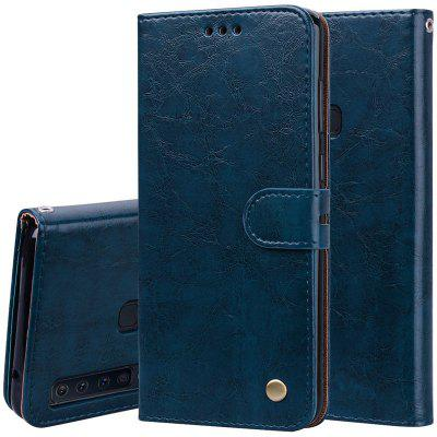Hat - Prince Oil Wax Pattern PU Leather TPU Bottom Shell With Card Slot Bracket Function Mobile Phone Case for Samsung Galaxy A9