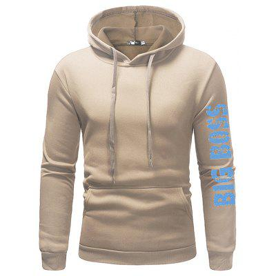 Men Leisure English Letter Print Solid Color Hooded Hoodie
