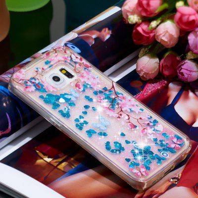 Voller weicher Anti-Fall Sand Cherry Blossom transparenter Handy-Fall für Samsung Galaxy S6 Edge