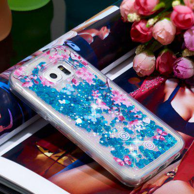 TPU Soft Anti-fall Quicksand Transparent Mobile Phone Case for Samsung Galaxy S6