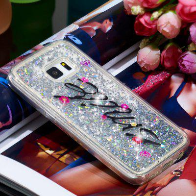 TPU Full Soft Anti-fall Quicksand Transparent Smile Pattern Mobile Phone Case for Samsung Galaxy S5