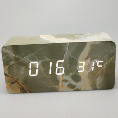 LED Wood Marble Wooden Creative Digital Voice Control Alarm Clock