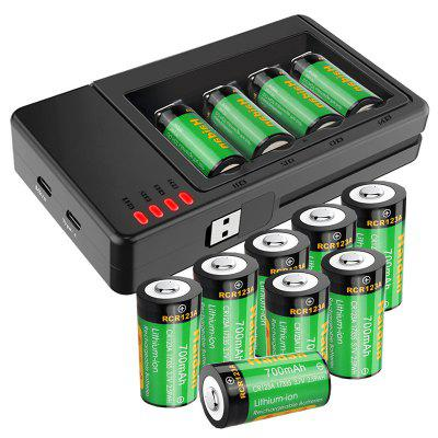 RCR123A 3.7V 700mAh Rechargeable Lithium-ion Battery with Charger for Home 12PCS