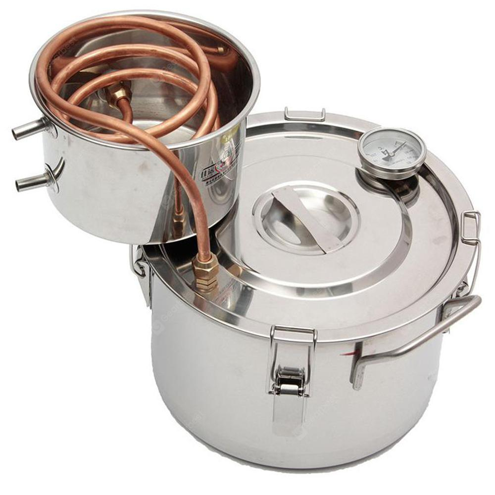 Copper Alcohol Distiller Boiler Kitchen Brewing Wine Making Tools 8L - Silver