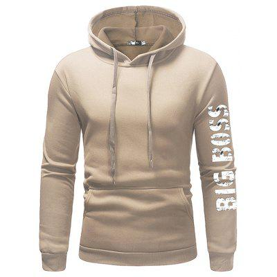 Men Leisure Solid Sports Hoodie with Cap