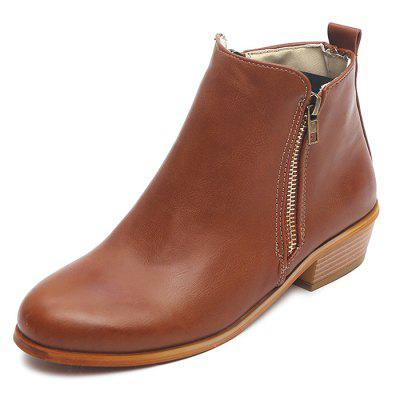 Vintage Thick Large Size Side Zipper Women Boots